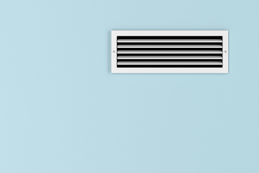 Air conditioning vent on the blue wall in Arnold, MD.